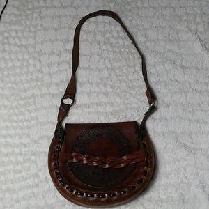 Hand tooled leather vintage saddlebag purse